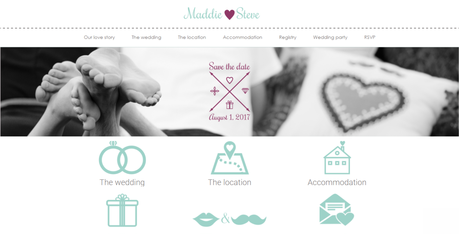 Mint anchor website template - Maddie and Steve